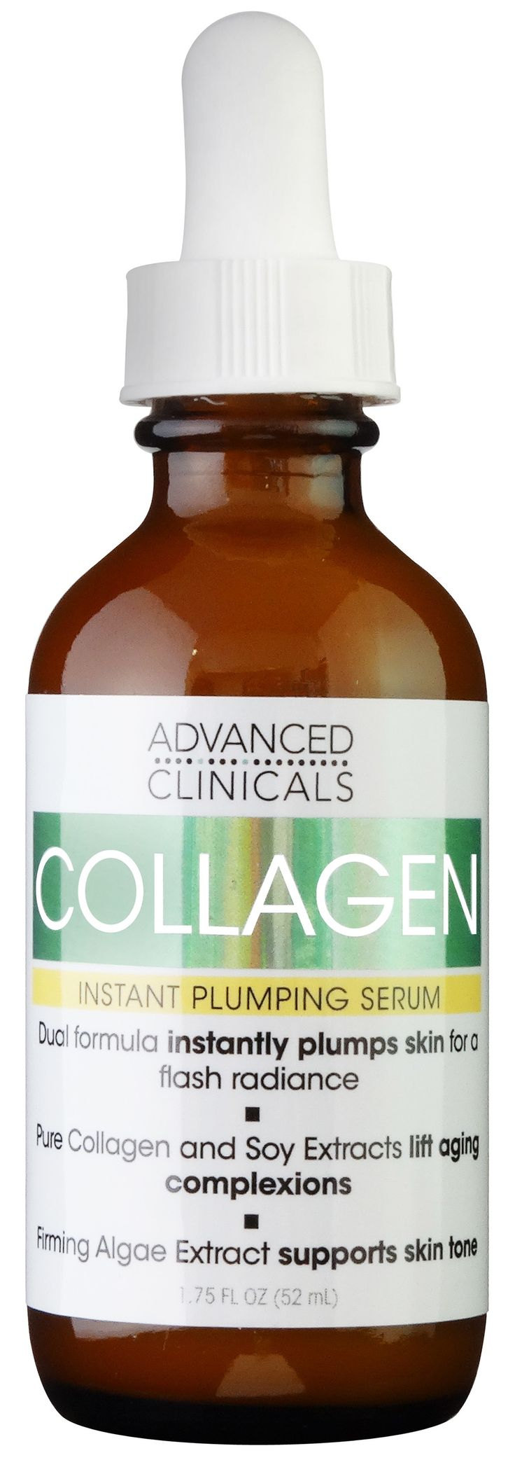 Advanced Clinicals Collagen Serum supports the natural production of  collagen in the epidermis. After using this face serum, your skin will look  plumper and firmer than ever before. Especially helpful for lip lines,  advanced formula will visibly restore volume to crevices. Powerful Soy  Complex diminishes the look of crepe-like skin. Transform yourself and your  skin with Collagen Instant Plumping Serum for a youthful glow. Soy Extracts  target sagging, lost elasticity and facial lines…