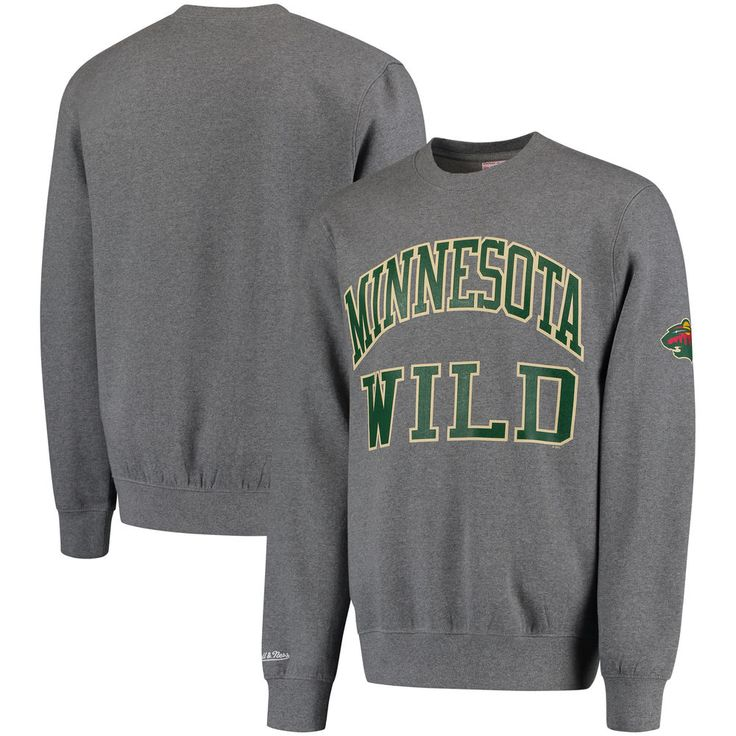 Minnesota Wild Mitchell & Ness Start of the Season Tailored Fit Crewneck Sweatshirt - Gray