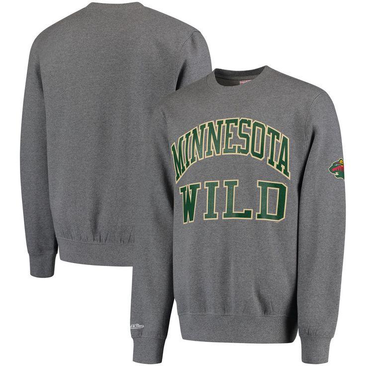 Minnesota Wild Mitchell & Ness Start of the Season Tailored Fit Crewneck Sweatshirt - Gray