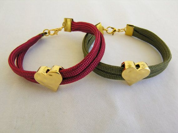 Valentine's gift Hammered heart bracelet Climbing by GIASEMAKI