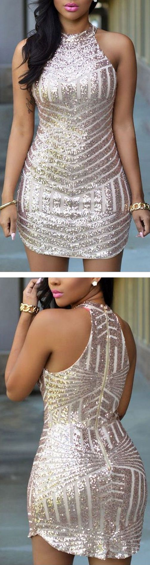 Sequin Stripe Bodycon Dress