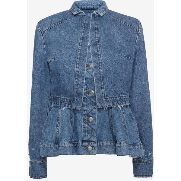 Alexander McQueen Denim Peplum Jacket (85,675 PHP) ❤ liked on Polyvore featuring outerwear, jackets, coats, tops, light denim, blue jackets, denim jackets, blue denim jacket, long sleeve jacket and denim peplum jacket