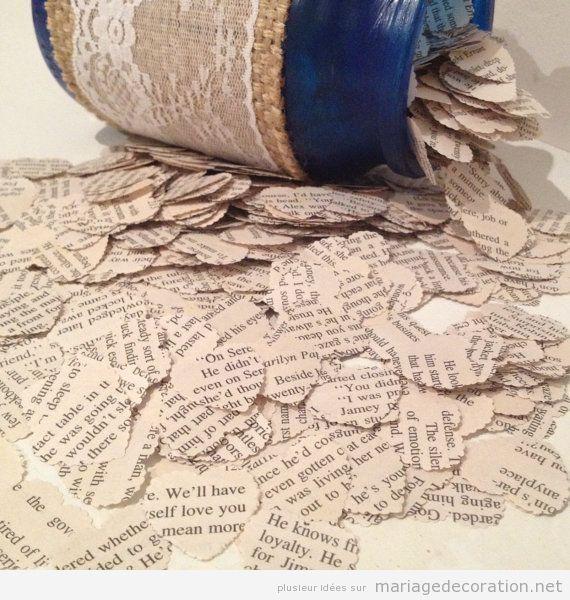 Idées déco mariage pas cher, coeurs en papier