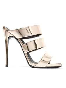 5db07753e Women s Slide Sandals High Heel Light Gold Patent Leather Mule Slippers