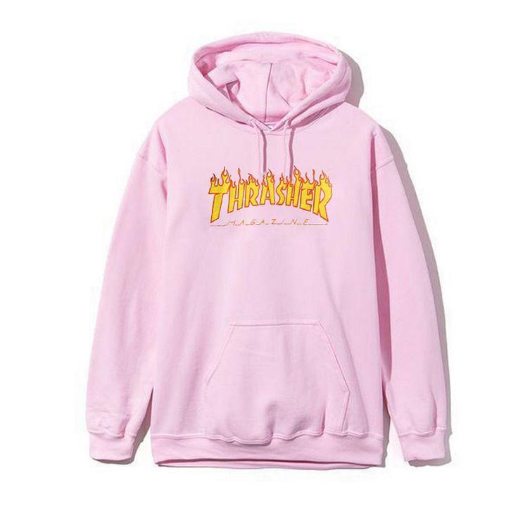 Thrasher Hoodie Sweatshirt Hooded Pullover Streetwear Skateboards Trasher Hoodies Men Fleece Tracksuit Printed Sweat Pink Black
