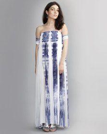 HASHTAG SELFIE Grecian Style Maxi Dress White Blue