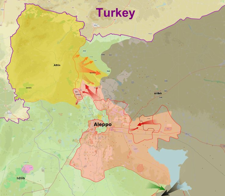 Map showing the course of the 2016 Northern Aleppo offensive.