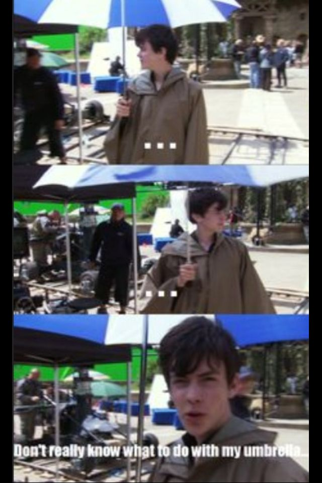 He's just like 'well... I'm holding an umbrella on a sunny day... Don't ask me what I'm doing'