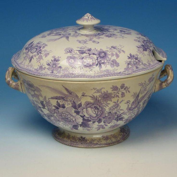 Rare Staffordshire Purple Transferware Asian Pheasants Soup Tureen