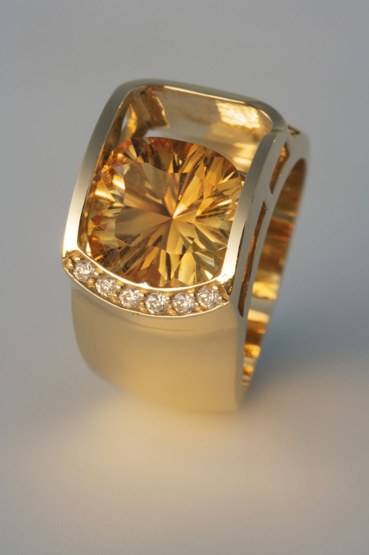 Floating 18K Rose gold citrine and diamonds.
