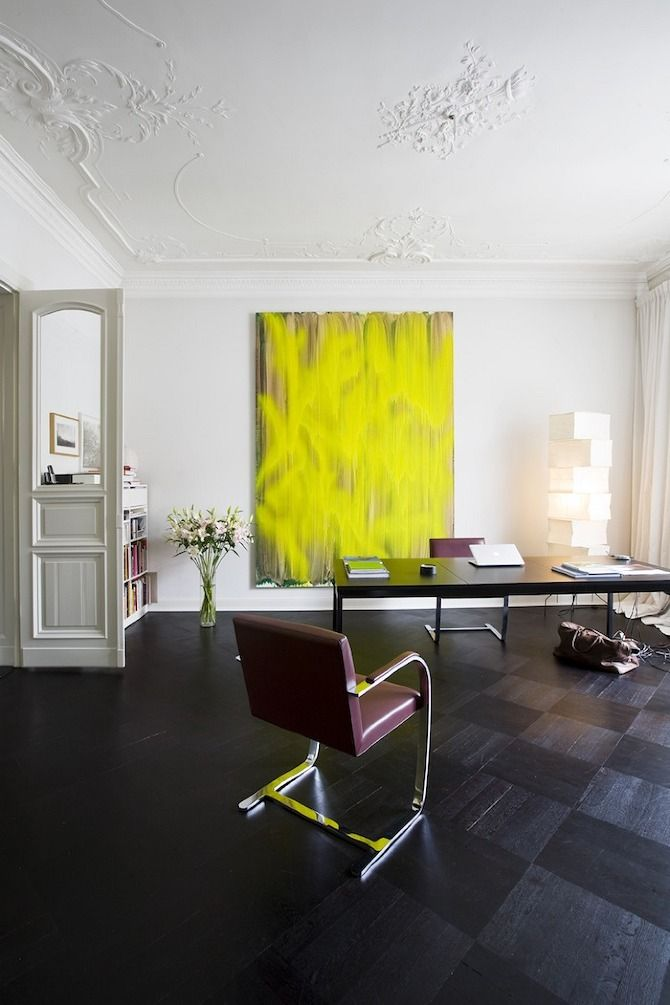 Guido Hager's Apartment: Berlin: Wall Art, Hager Apartment, Offices Design, Interiors Design, Guido Hager, Home Offices, Design Offices, Helenio Barbetta, Yellow Paintings