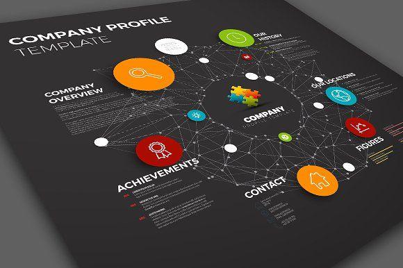 Dark Company Profile Template by Orson on @creativemarket