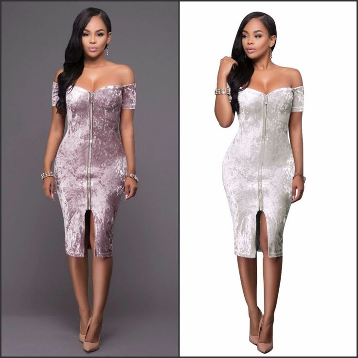 New Knee Length Velvet Off shoulder Body Con Party Evening Dress White Pink M-L