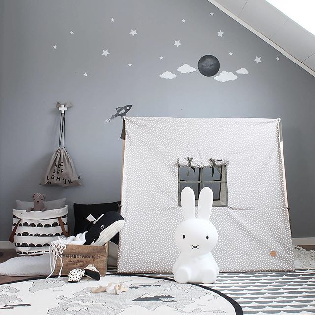 The nearly black version of the moon Go there in a matchy rocket. You find all the space stuff  stickstay.se  ➖➖➖➖➖➖➖➖➖➖ #stickstay #stickers #wallstickers #barnrum #kidsroom #kidsdecor #kidsinterior #kidsdesign #inspirationforpojkar #kidsinspo #walldecals #decals #decorforkids #playtent #fermlivingkids #moon #rocket #space #greywall