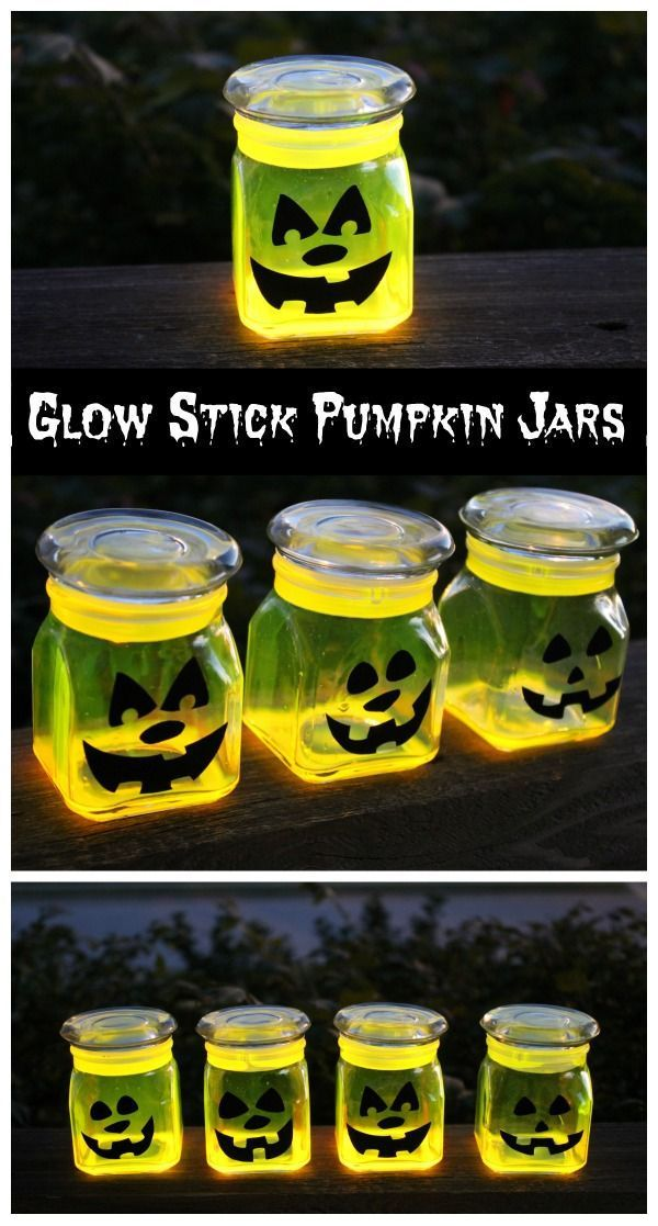 Glow Stick Pumpkin Jars  So doing this!  Save your candle jars!