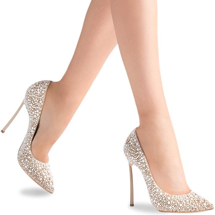 Casadei Blade Heels with Faux Pearls