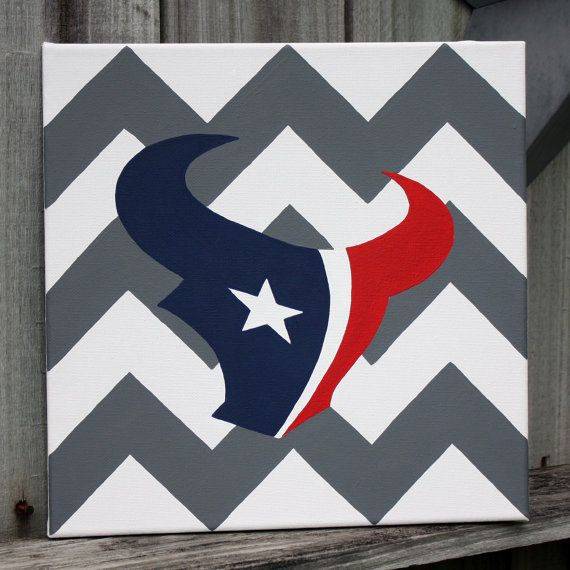 Houston Texans Chevron Painting 12x12 by DarlingDesignsShop, $30.00 SOLD. Contact Darling Designs to order!