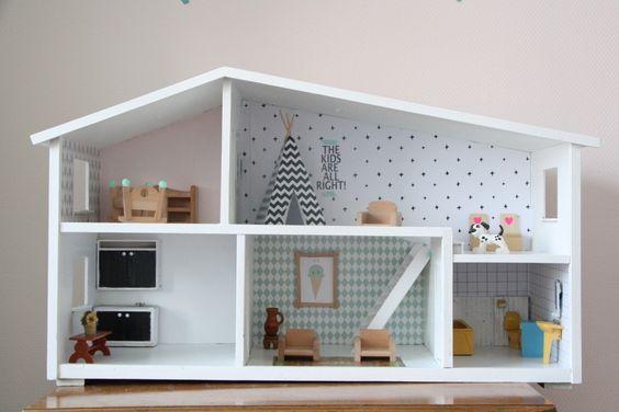 Poppenhuis Lundby, poppenhuis opknappen, behangetjes poppenhuis, Lundby dollhouse