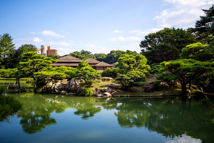 Japan Gardens Pond Takamatsu Japan Ritsurin garden Trees Nature