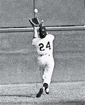 Willy Mays catch of the Day at the World Series NY Giants against the Cleveland Indians.