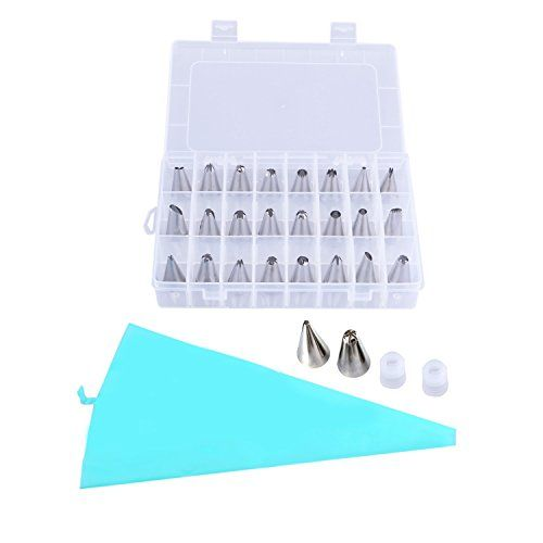 27 in 1 Cake Decorating Tips Kits KinHom Professional 24 Stainless Steel Icing Tips Nozzles Set Tools and 1 Reusable Silicone Pastry Bag with 2 Plastic Coupler for All Types Pattern *** Read more reviews of the product by visiting the link on the image.