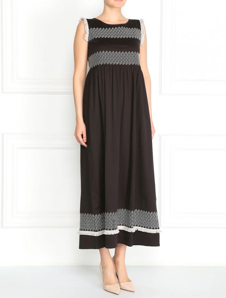 Платье-макси из хлопка с узором - Модель Верх-Низ