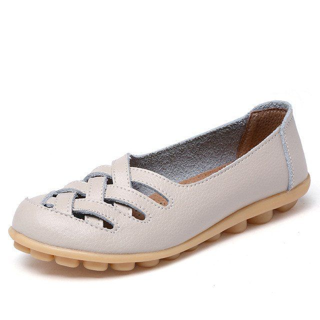 Classic Beige Casual Comfy Smooth Shoes with Lattice Hatched Upper - C – Nodule Shoe