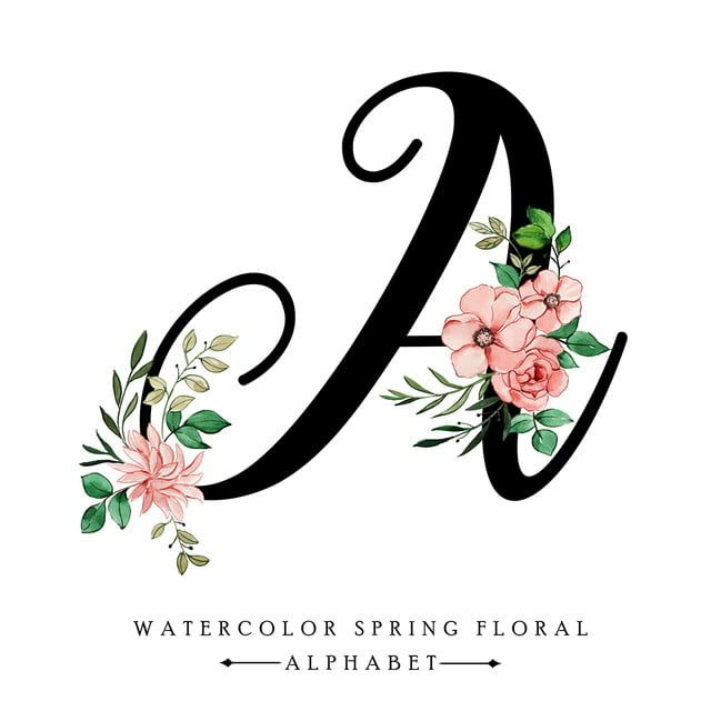 Watercolor Spring Floral Alphabet Letter A Letter A Clipart Watercolor Paint Png And Vector With Transparent Background For Free Download Lettering Alphabet Alphabet Letters Design Flower Design Vector