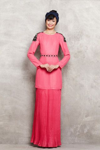emel by Melinda Looi - Modern Kurung with Shoulder Embellishments & Pleated Skirt