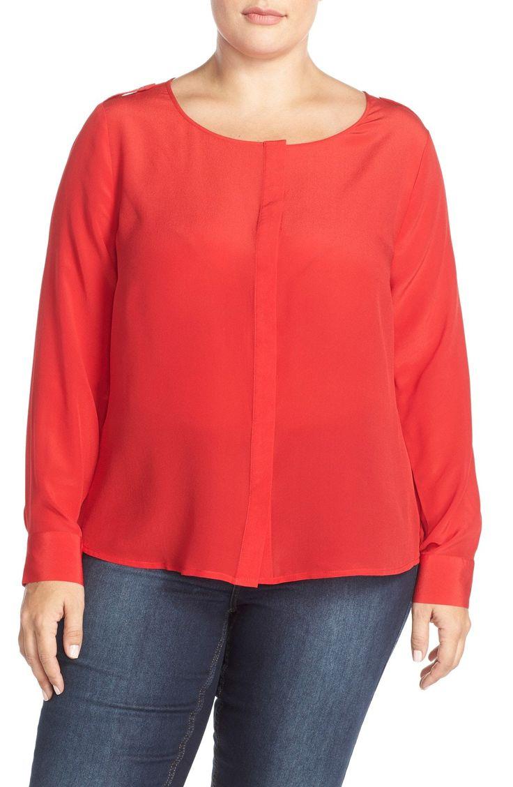 New Tart 'Krista' Mirror Print Silk Top (Plus Size) BLACK fashion online. [$108] new offer from Newtstyle Shop<<