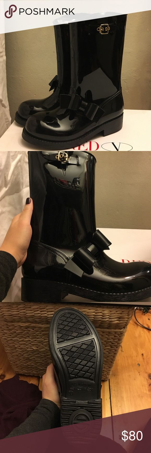 RED Valentino rain boots! Lightly worn, still look like new! Light scuffs on inside of each foot. Original box and dust bag included. RED Valentino Shoes Winter & Rain Boots