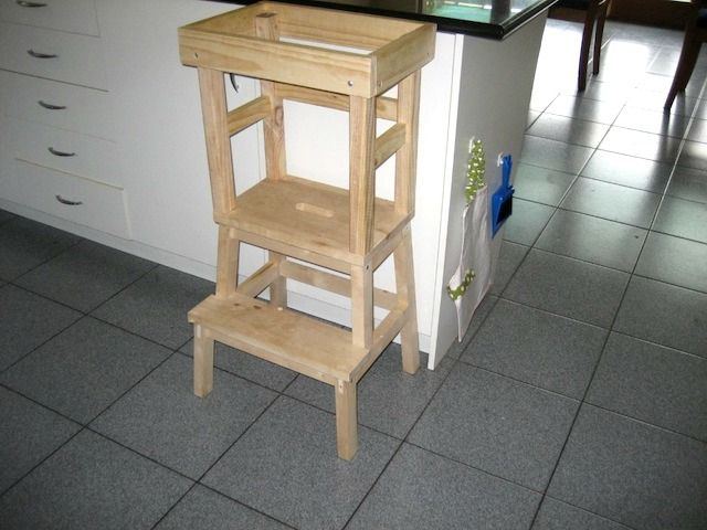 Jackie's husband made this fabulous DIY Learning Tower for a total of $30. He used a stool from Ikeawith some additional pieces attached above the highest step. Easy and cheap.     We found this tower excellent for little people as it was sturdy and light enough for Jack to move by himself around the kitchen when required.