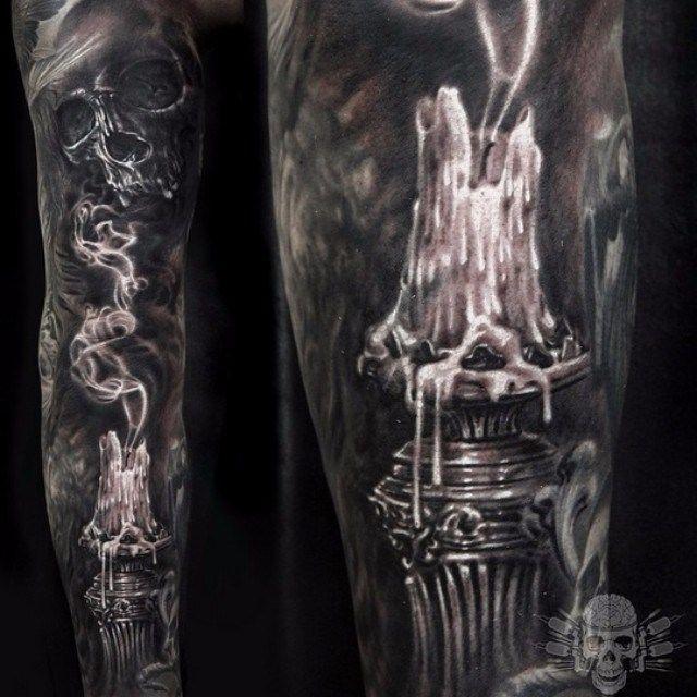 Extinguished Candle Tattoo Sleeve