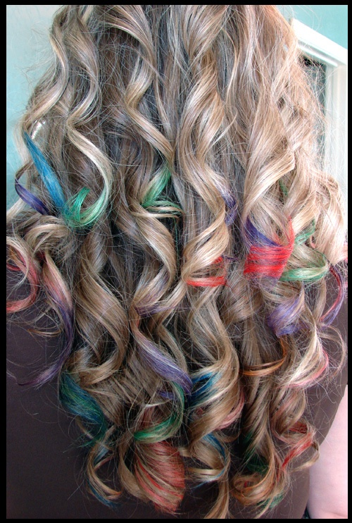 Did this today with Sharpie fabric markers. Probably wont last but a few days, but I love it! :)Hair Ideas, Crazy Hair, Rainbows Hair, Hair Colors, Rainbows Colors, Hair Style, Hair Chalk, Hair Tips, Colors Hair