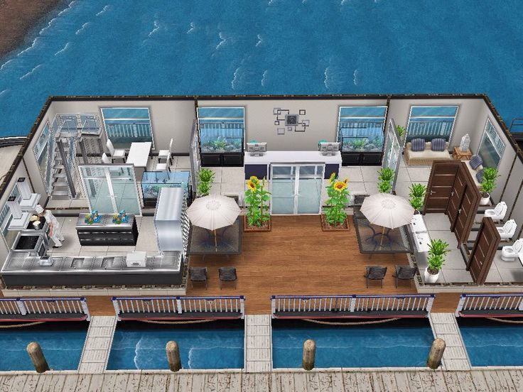 House 52 Boat Restaurant (ground level) #sims #simsfreeplay #simshousedesign