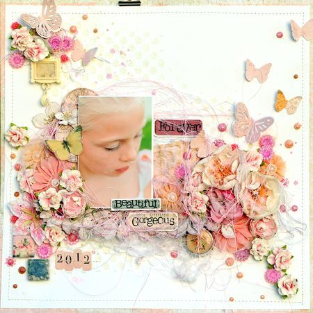 Layout by Lene Bjrnerud for Prima using vintage trinkets and flowers