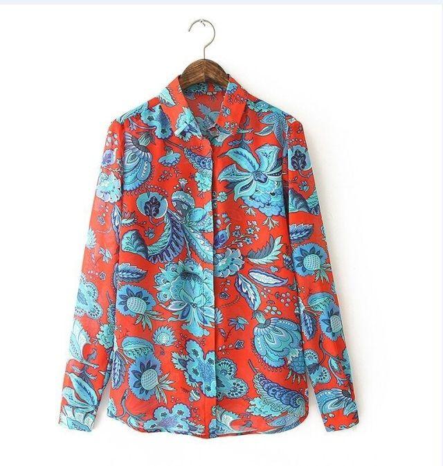Женщины плюс размер красный цветочный принт блузки винтаж turn down ошейник с длинным рукавом работа в офисе рубашки случайные свободные топы LT231