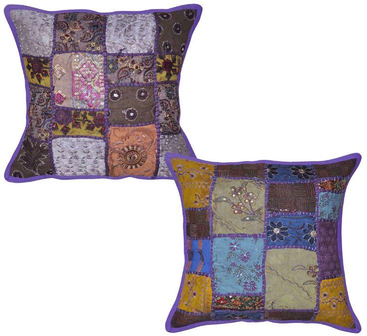 Indian Embroidered Decor Purple Color Cotton Cushion Cover Pillow Case HD EHS #lalhaveli