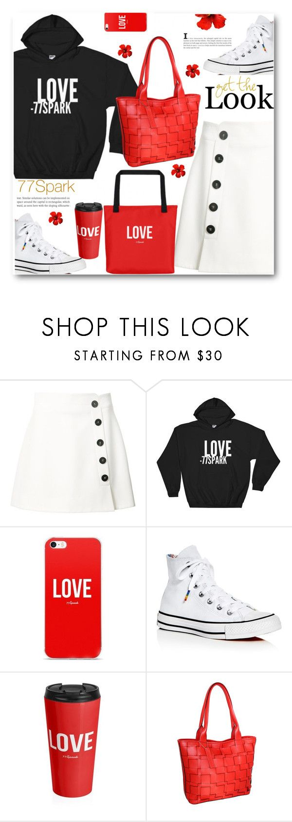 """77Spark Happy hoodies"" by ucetmal-1 ❤ liked on Polyvore featuring Misha Nonoo, Converse, Nino Bossi Handbags and www"