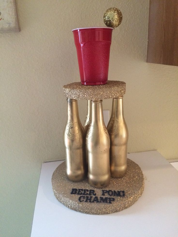 Diy Beer pong trophy.