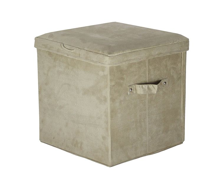 Casual Home Seat Pad Folding Storage Ottoman. Micro Suede Cover-Beige - 112-60
