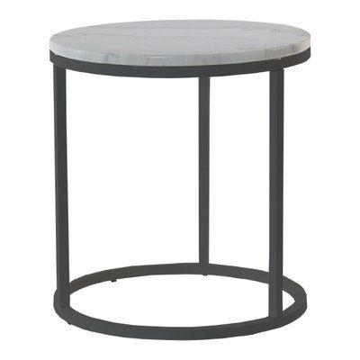 Accent soffbord rund 50 - Vit marmor / svart underrede