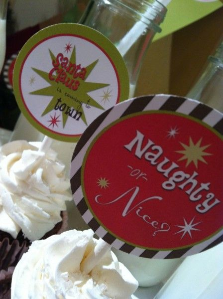 """free """"naughty or nice"""" christmas printables in red, lime green and brown {invite, party circles, favor tags, """"merry christmas"""" banner, tented cards, flags and kids' activity sheet}"""