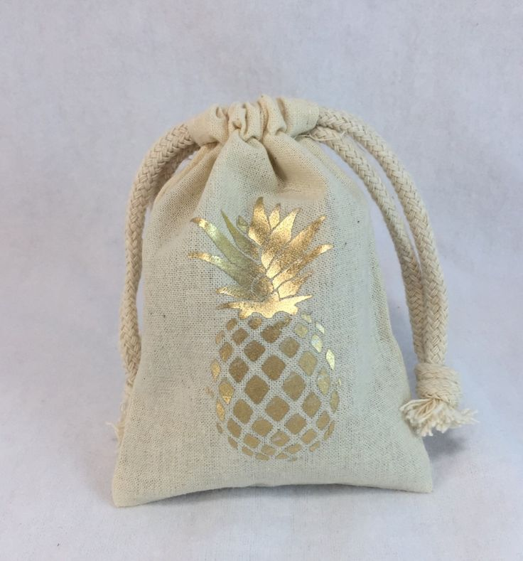 GOLD PINEAPPLE draw string bags- wedding favor bags - small party bags - by MyPillowShoppe on Etsy