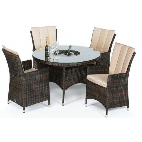 San Diego Rattan Garden Furniture 4 Seater Round Table Set With Ice Bucket Part 30
