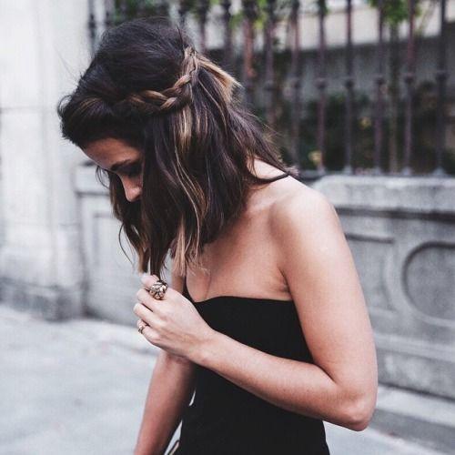 short hair, mini braids. Love the colors