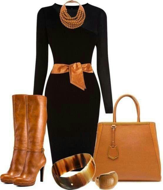 Schwarzes Kleid und Braun - Lederstiefel
