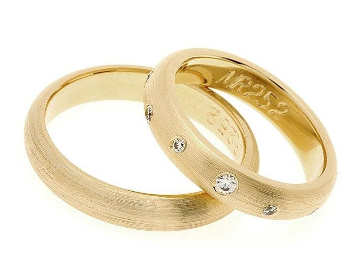 Traditional Yellow Gold Wedding Rings Matte with Precious or Semi-Precious Stones