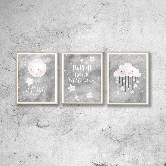 Gray Nursery Print Set Of 3 Watercolor Nursery Art Print Gray
