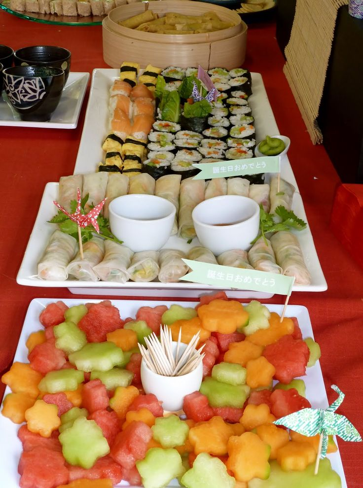 Frog, Goose and Bear: JAPANESE PARTY blossom fruit and rice paper rolls and sushi